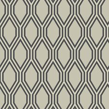 Beige/Charcoal/Metallic Contemporary Wallcovering by Kravet Wallpaper