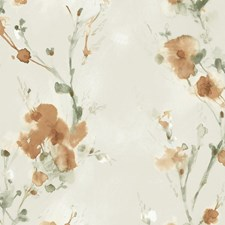 Beige/Rust/Green Botanical Wallcovering by Kravet Wallpaper