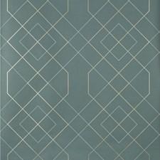 Teal/Spa/Metallic Geometric Wallcovering by Kravet Wallpaper