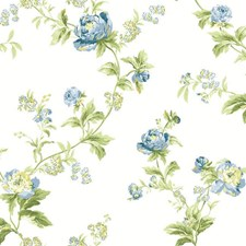 Eggshell/Gray Blue/Cobalt Blue Floral Wallcovering by York