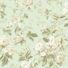 Pale Mint/White/Beige Floral Medium Wallcovering by York