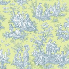 Spring Green/Prussian Blue/White Historic Reproduction Wallcovering by York