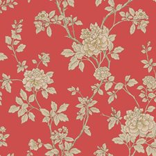 Bright Red/Off-white/Beige Floral Wallcovering by York