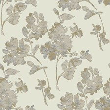 Beige/Taupe/Metallic Gold Floral Wallcovering by York