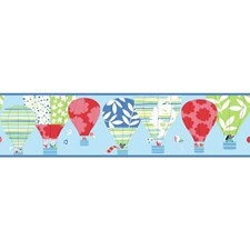Powder Blue/Red/Lime Green Hot Air Balloon Wallcovering by York